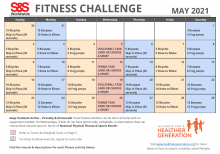 Fitness Challenge Calendar May 2021