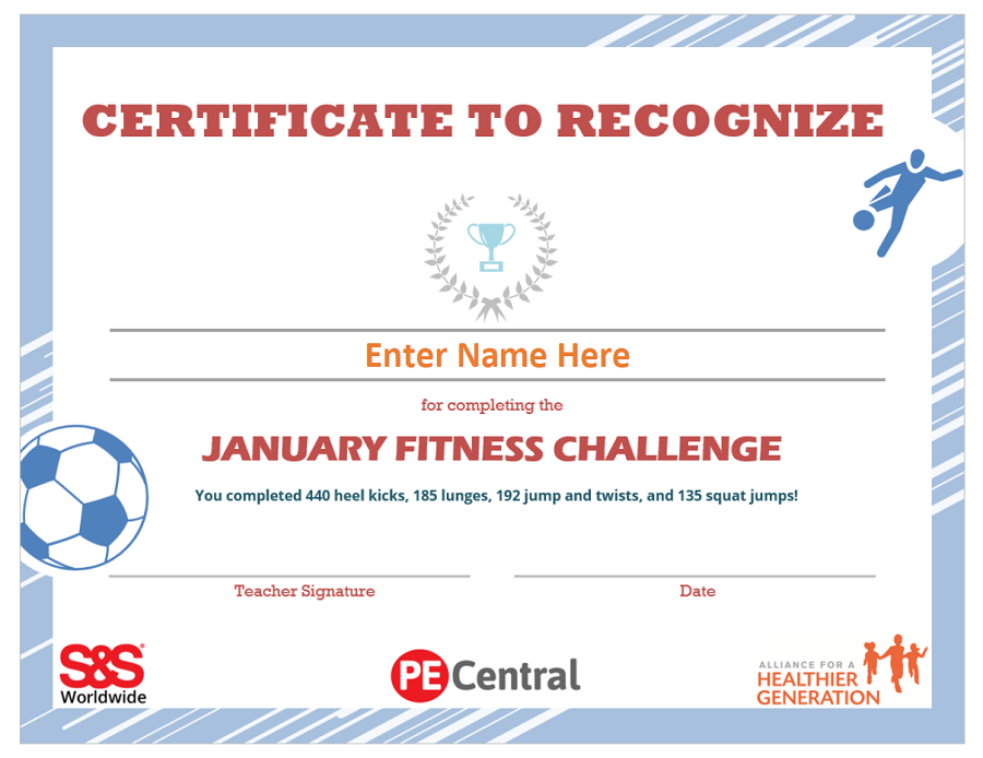 Fitness Challenge - Certificate of Completion