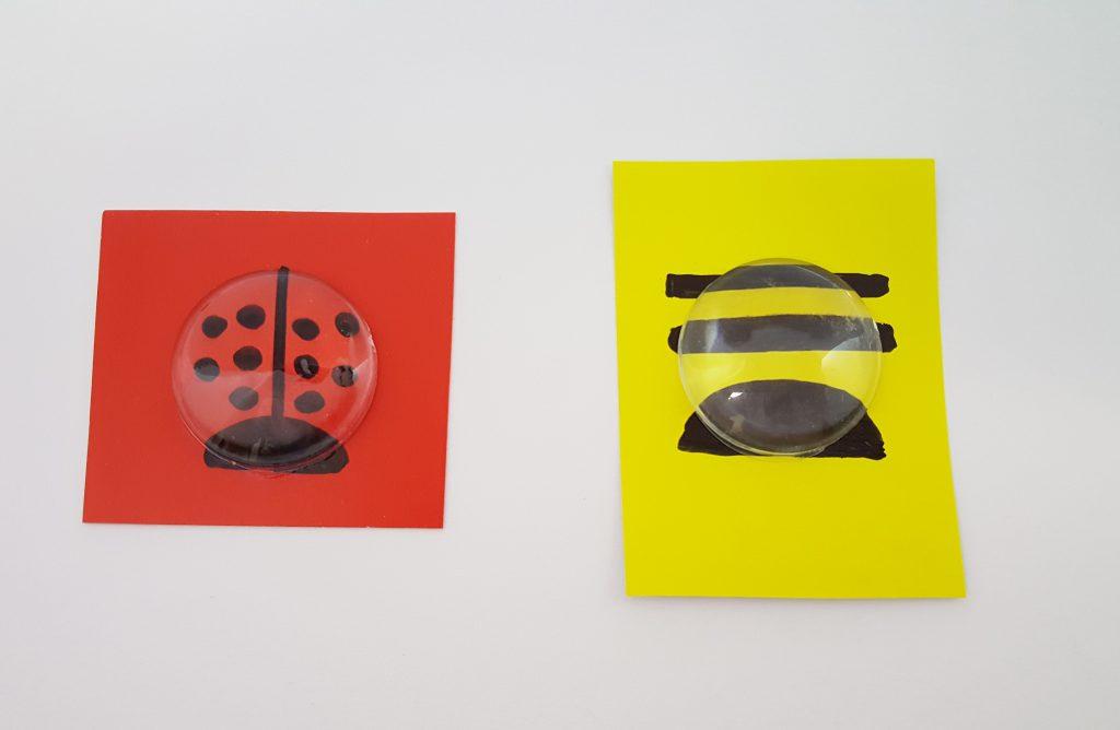 Glue plastic stones to paper