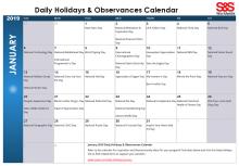 January 2019 Printable Daily Holidays Calendar 2
