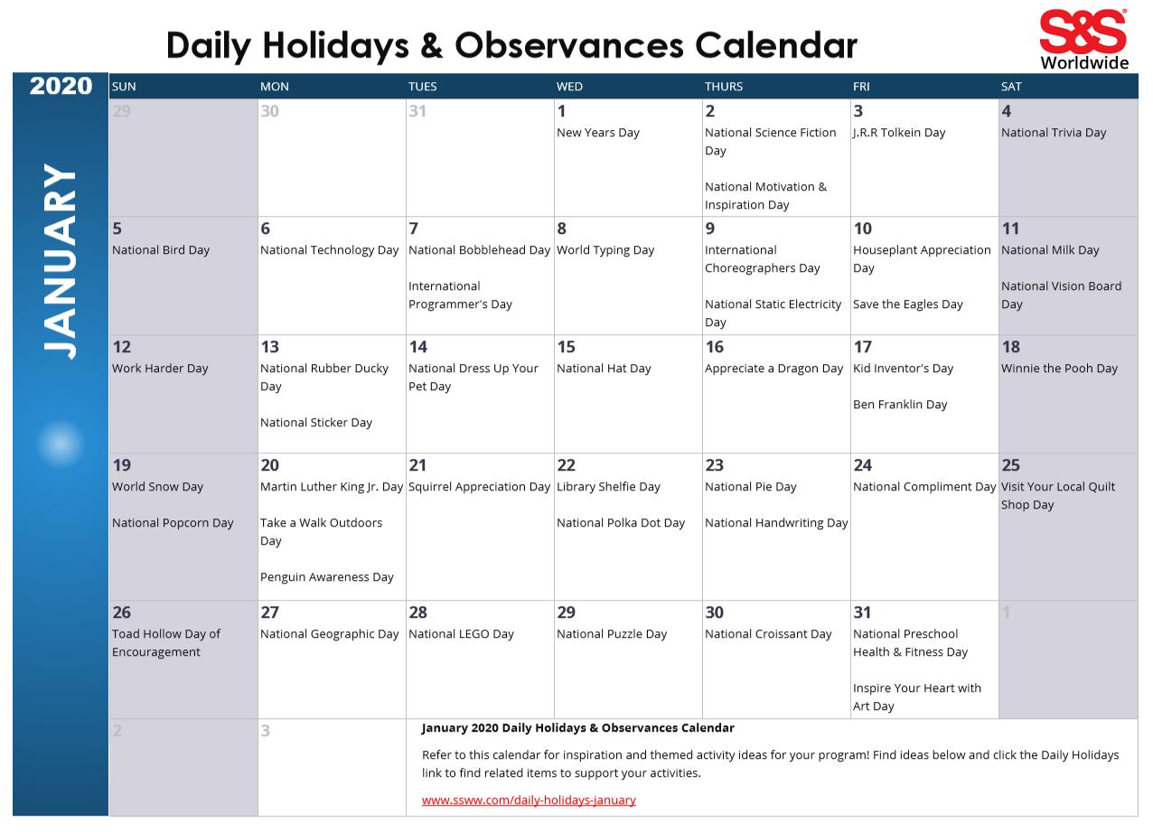 January 2020 Printable Daily Holidays Calendar