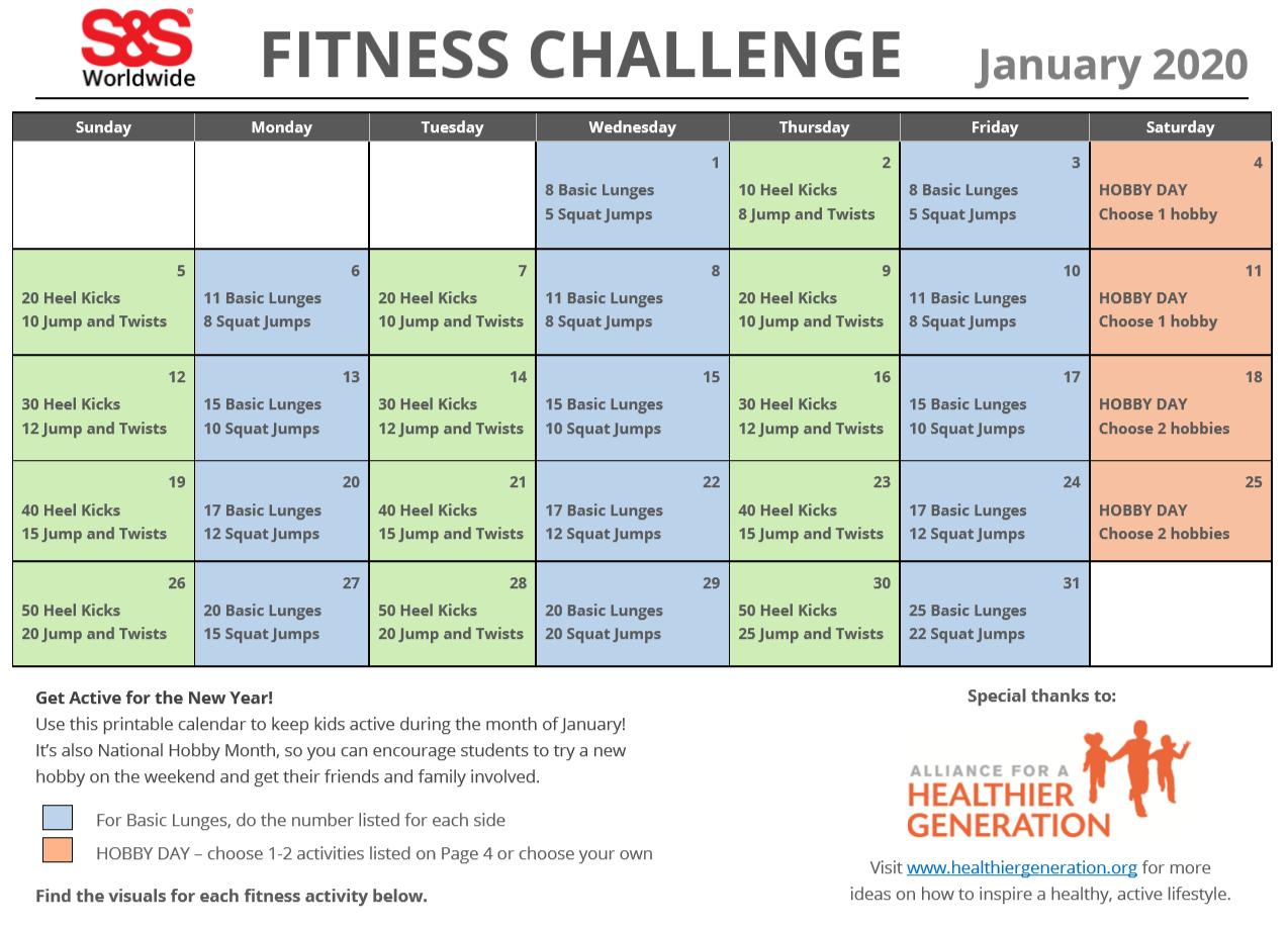 January Printable Daily Holidays Calendar 2020