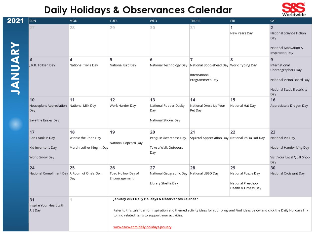 January Printable Daily Holidays Calendar 2021