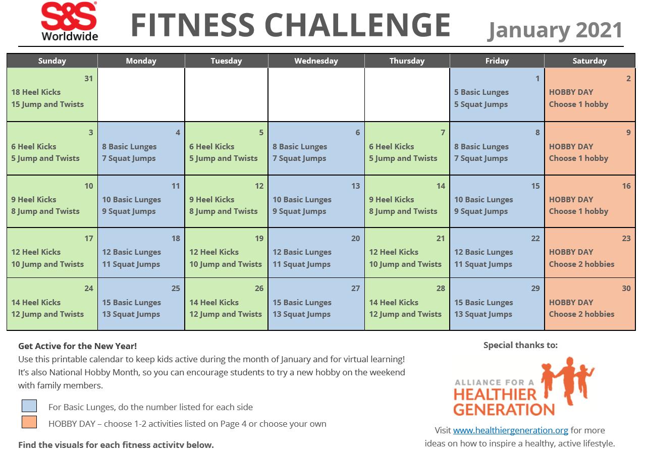 January Printable Fitness Challenge Calendar 2021