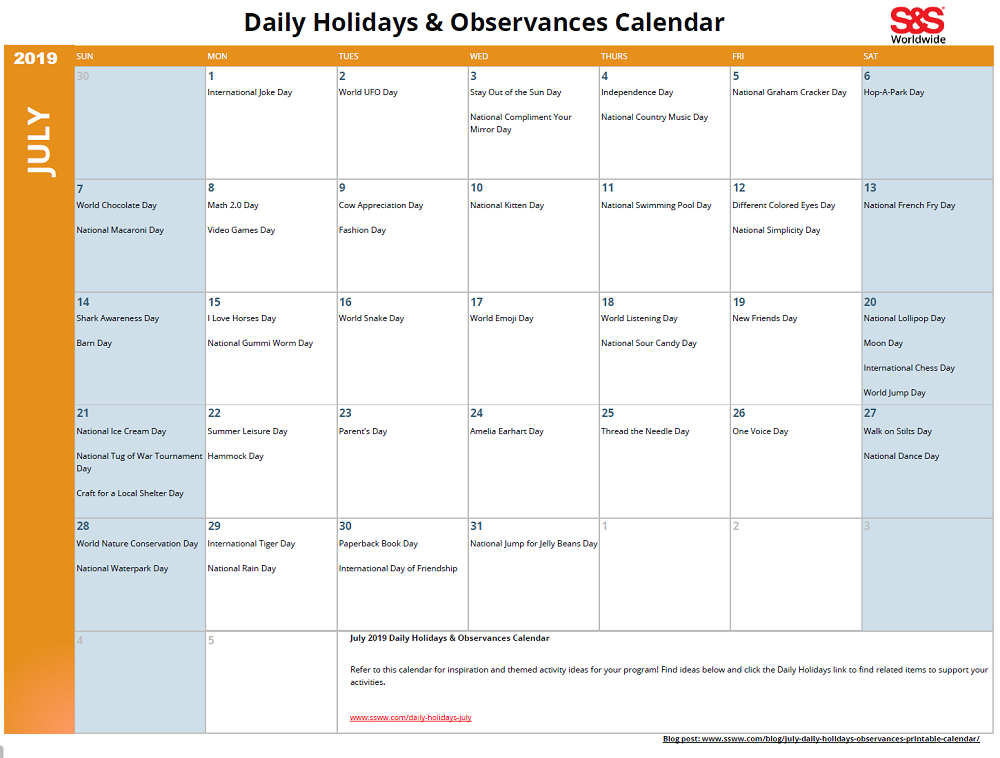 photo about Calendar With Holidays Printable called July Everyday Vacations Observances Printable Calendar - SS Weblog