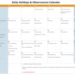 July Daily Holidays & Observances Printable Calendar