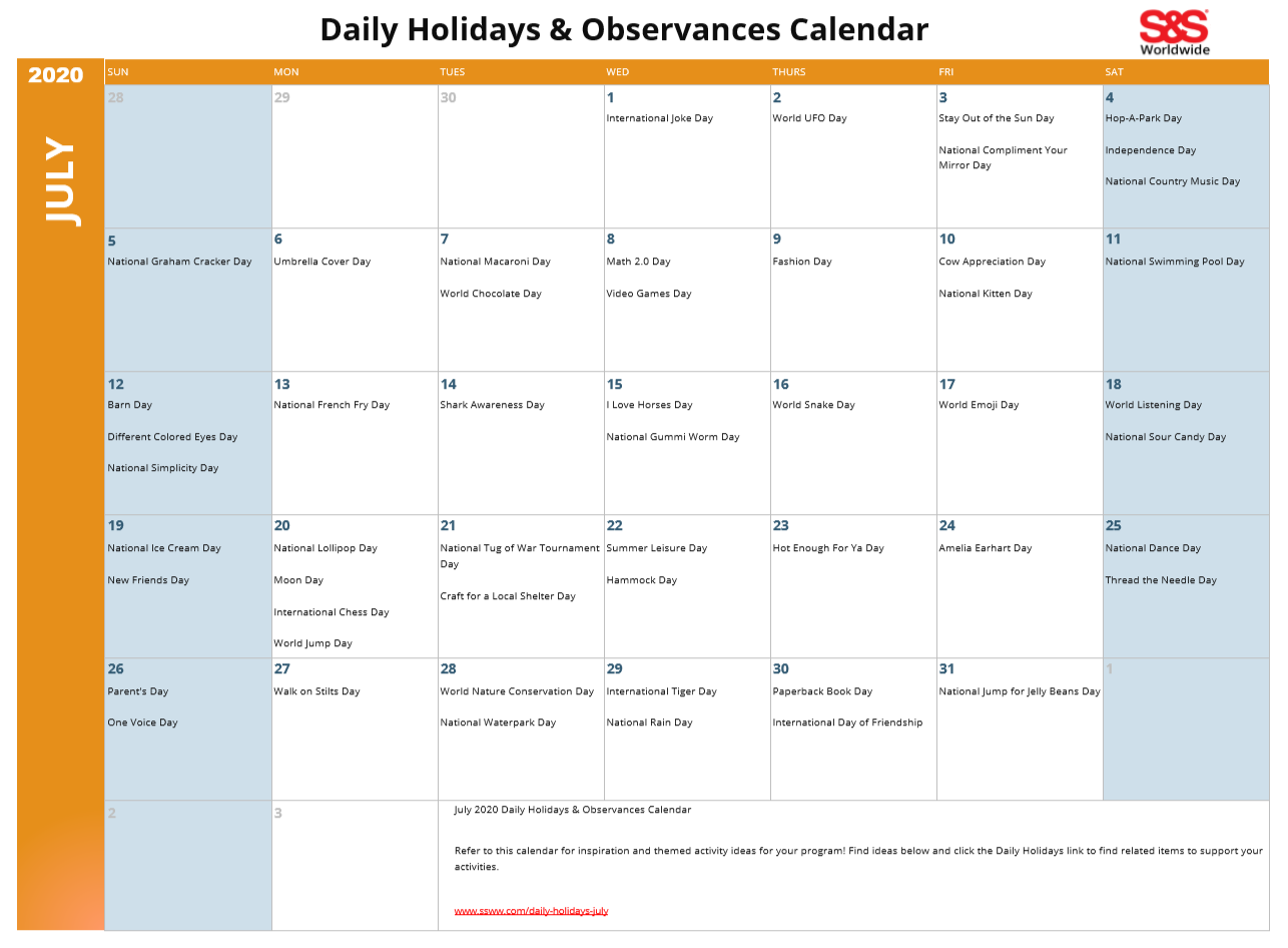 July 2020 Printable Daily Holidays Calendar