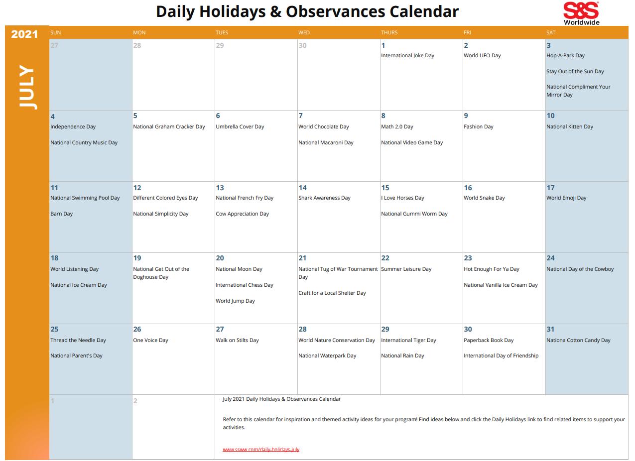 July 2021 Printable Daily Holidays Calendar