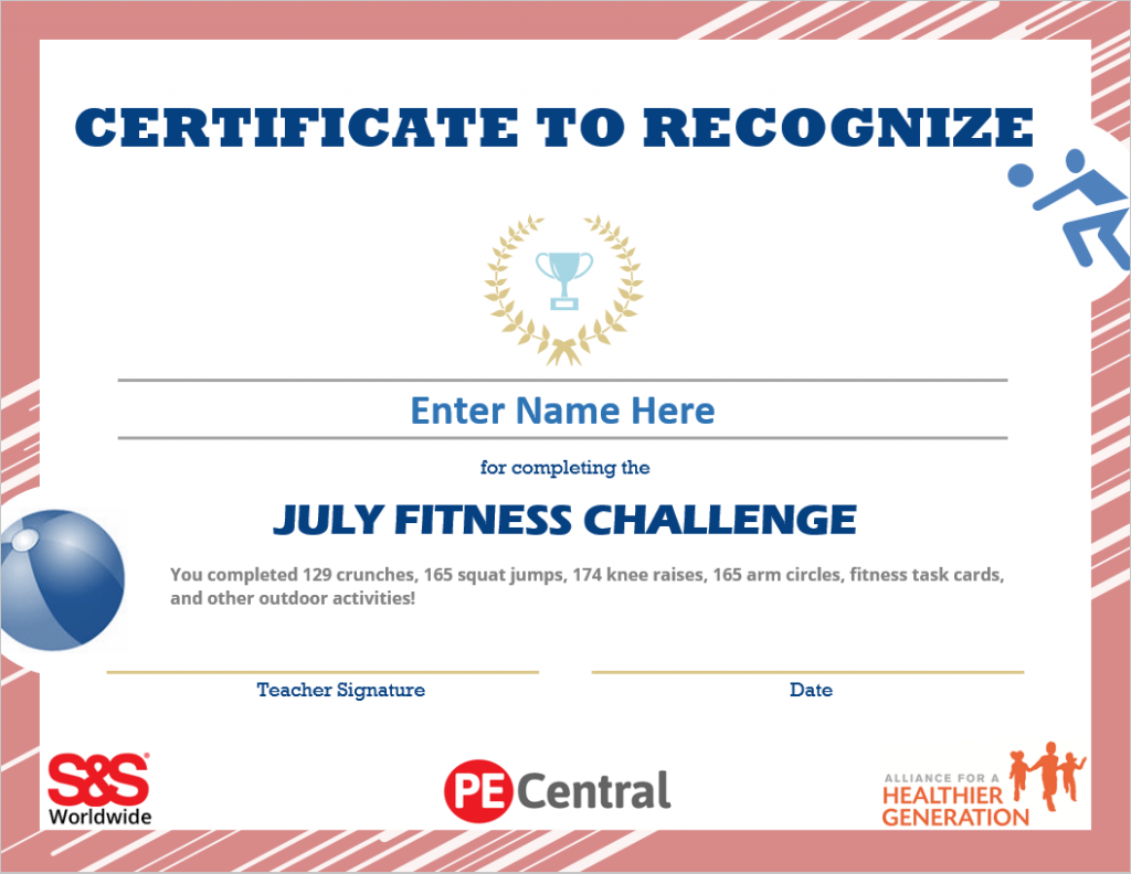 July Fitness Challenge Calendar Award