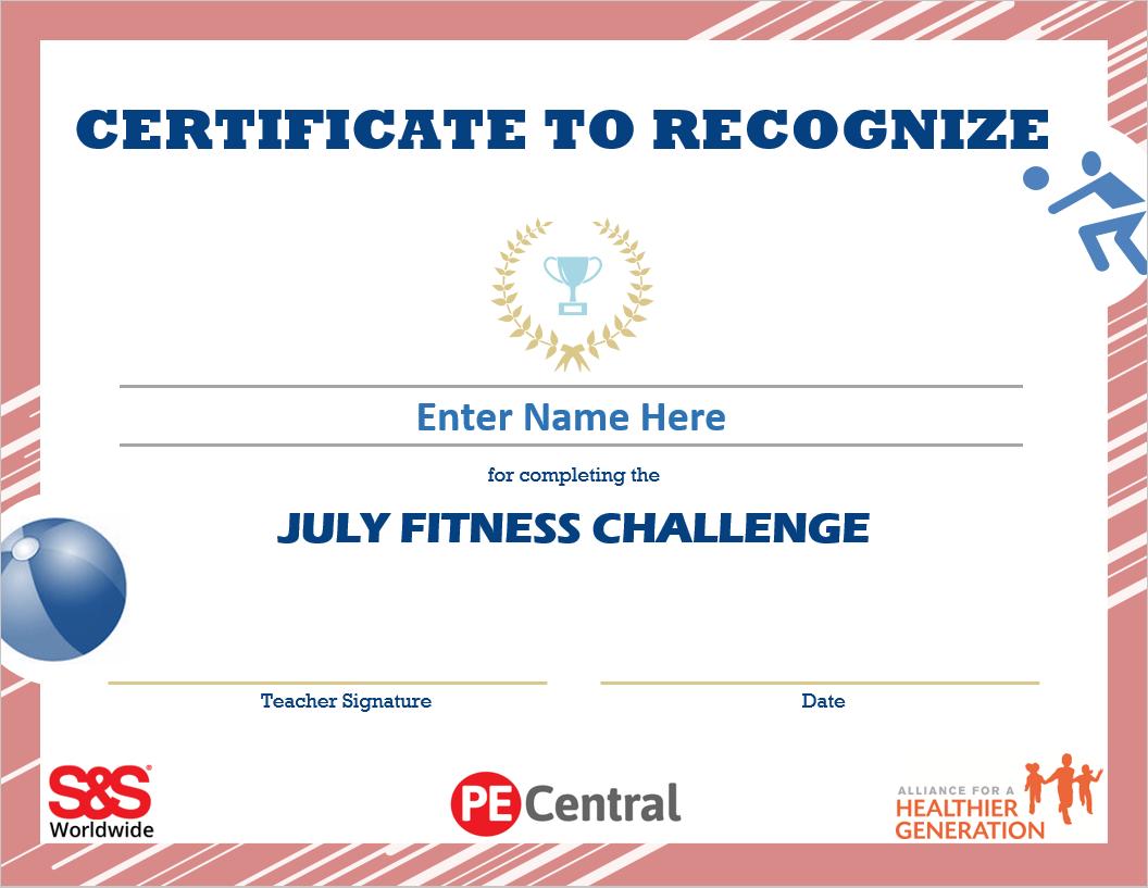 July Fitness Challenge Calendar Award 2021