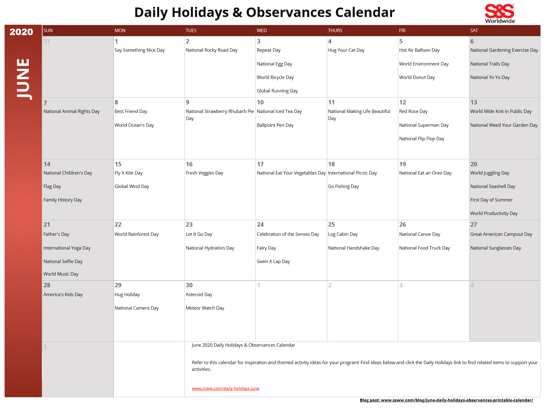June 2020 Printable Daily Holidays Calendar