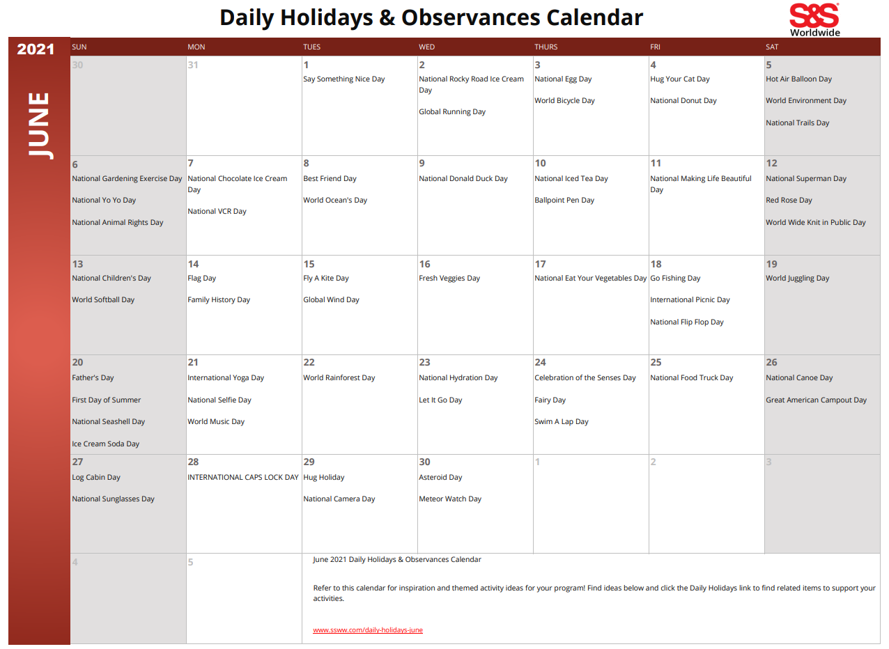 June 2021 Printable Daily Holiday Calendar