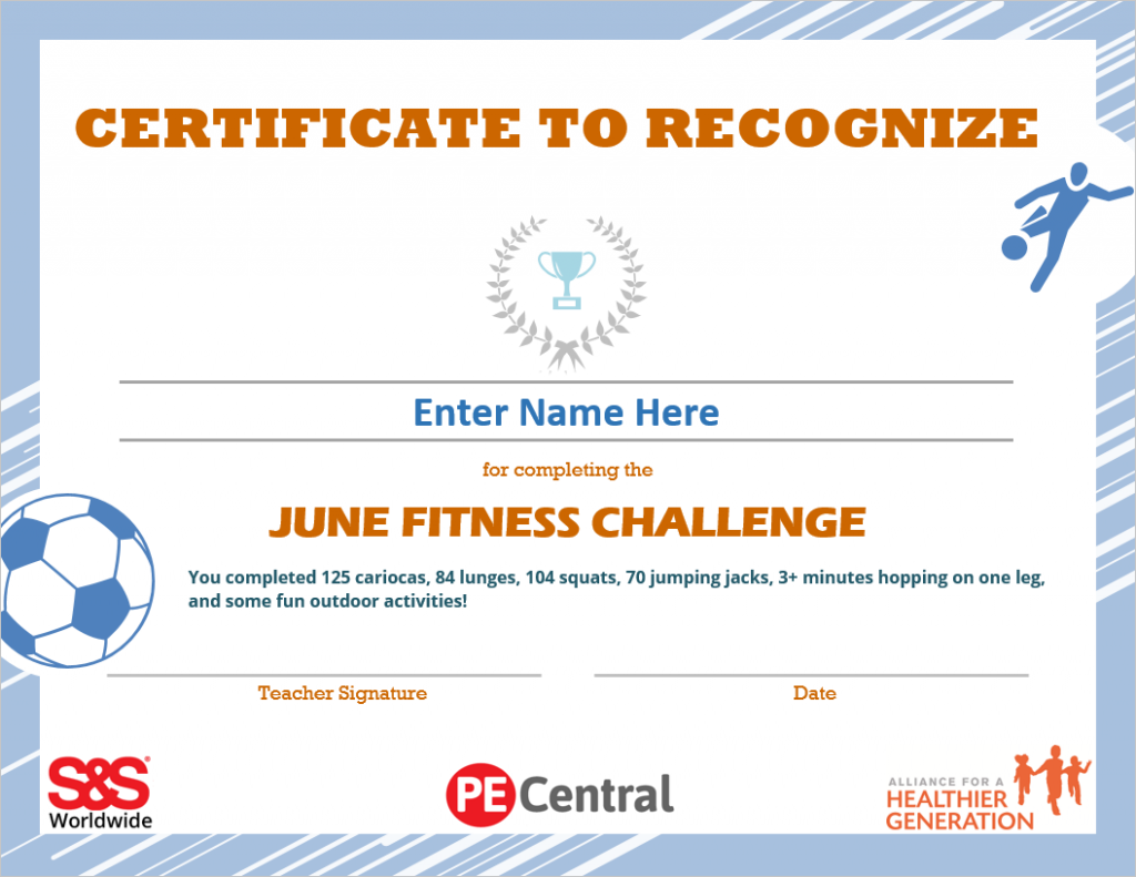 June Fitness Challenge Calendar Award