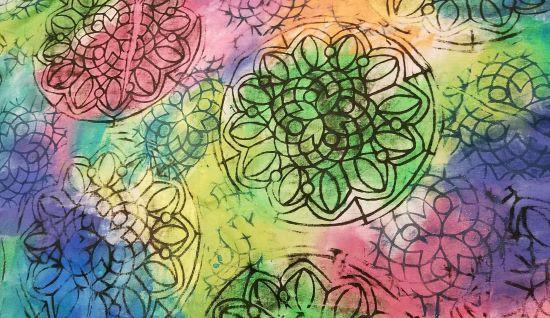 Mandala Print Table Runner close up