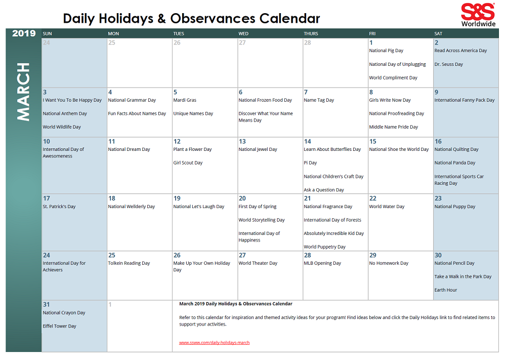 Printable Calendar March 2019.March Daily Holidays Observances Printable Calendar S S Blog