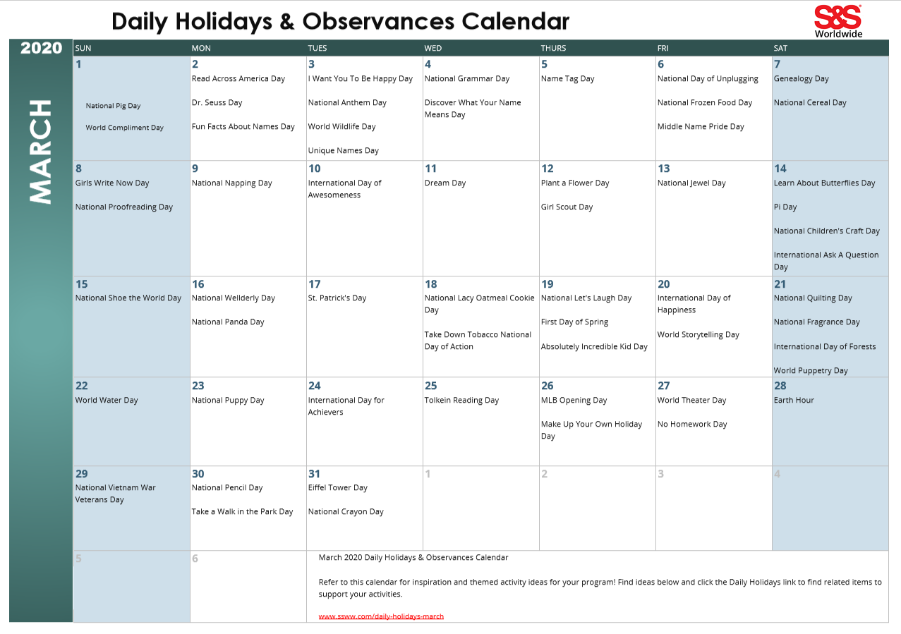 March 2020 Printable Daily Holidays Calendar