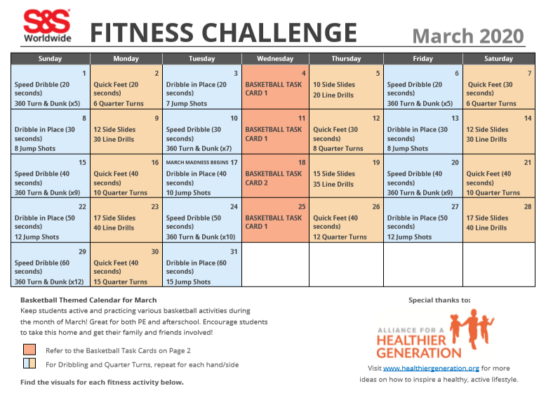 March Fitness Challenge Calendar 2020 1