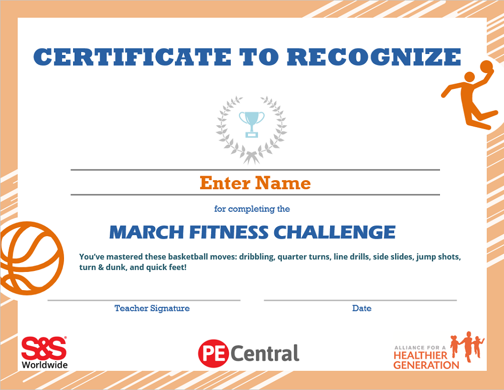March Fitness Challenge Calendar Award