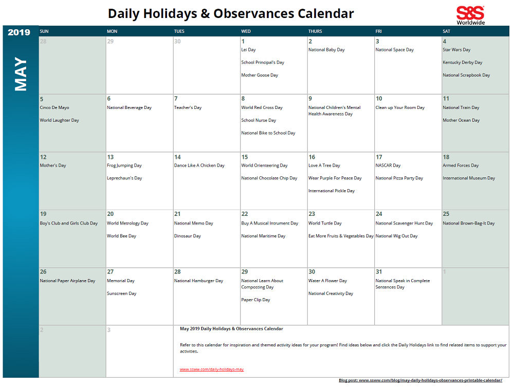 May Daily Holidays Observances Printable Calendar S S Blog