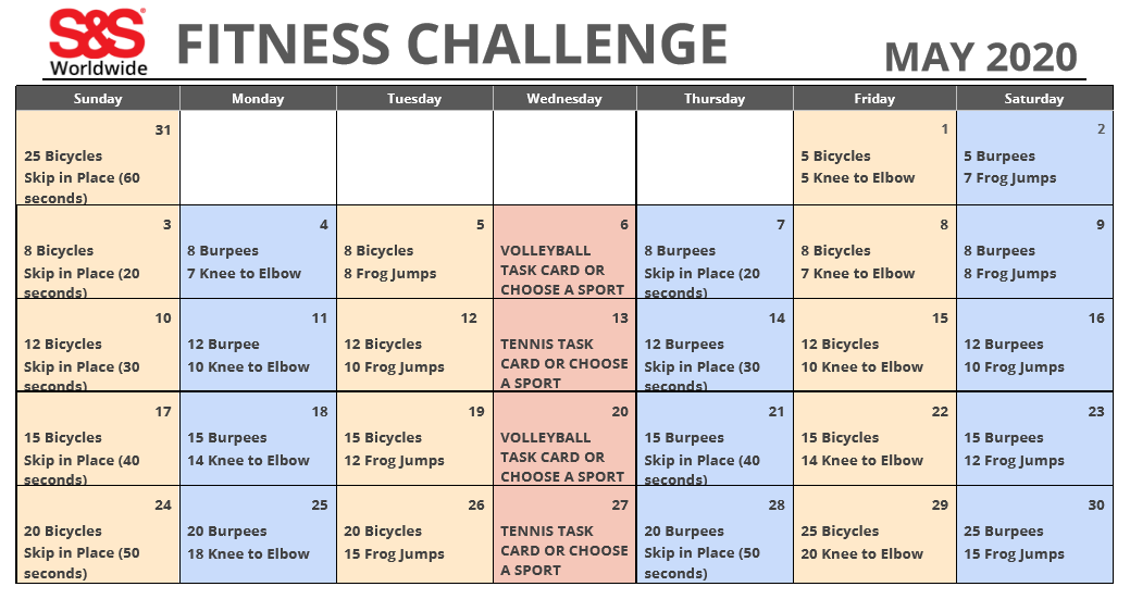 May 2020 Fitness Challenge Calendar