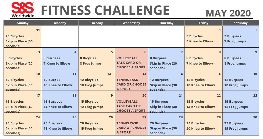 May 2020 Fitness Challenge Calendar