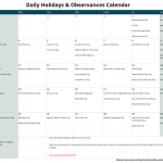 May Daily Holidays & Observances Printable Calendar