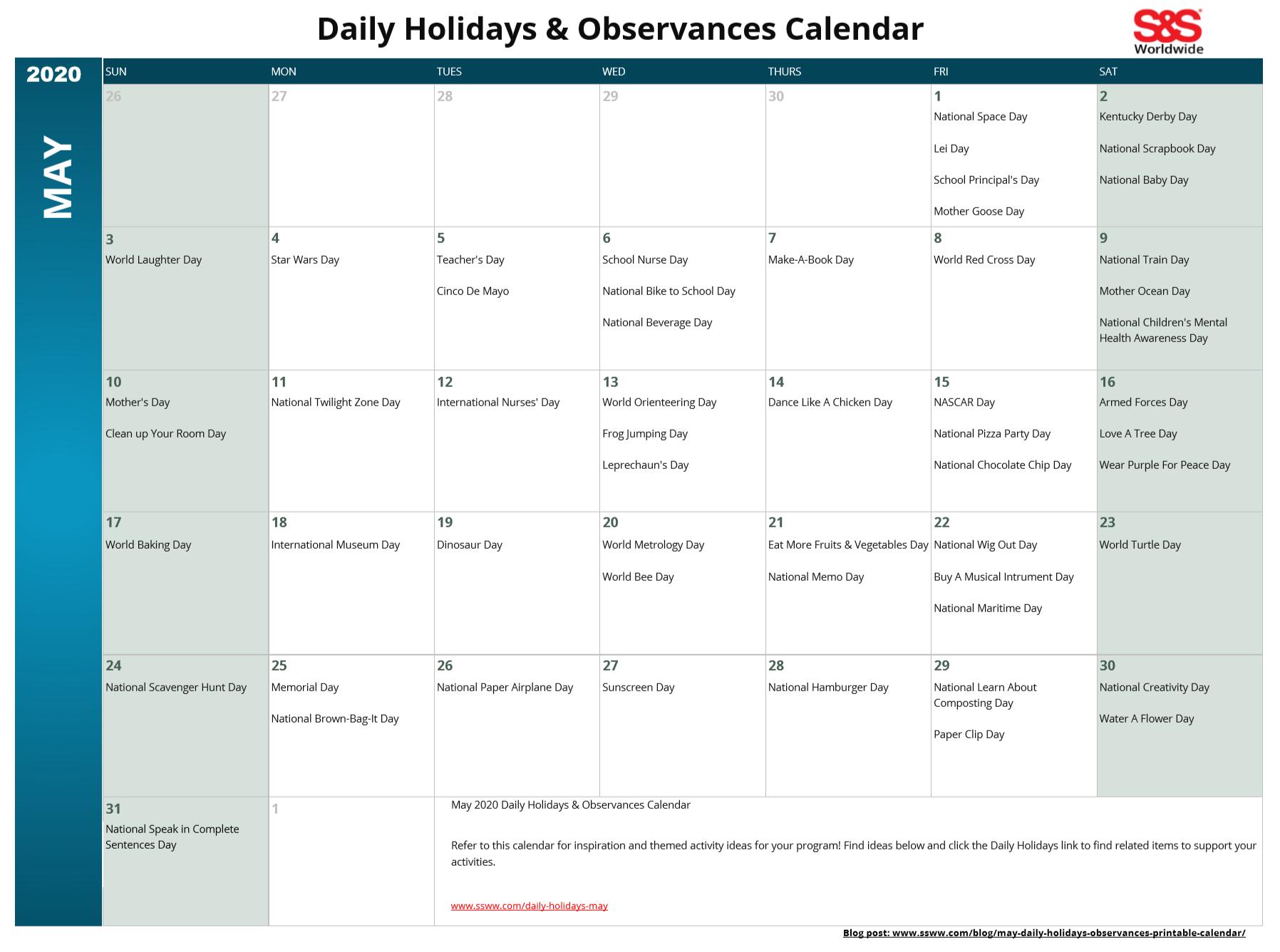 May 2020 Printable Daily Holidays Calendar