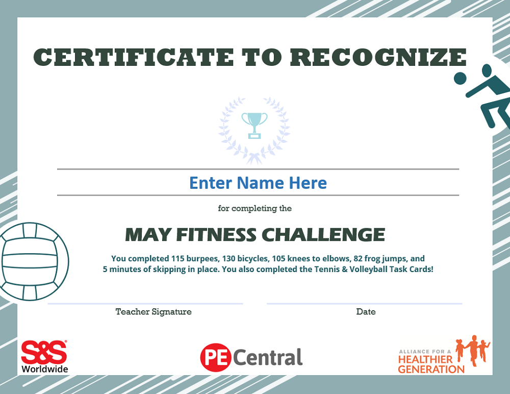 May Fitness Challenge Calendar Award