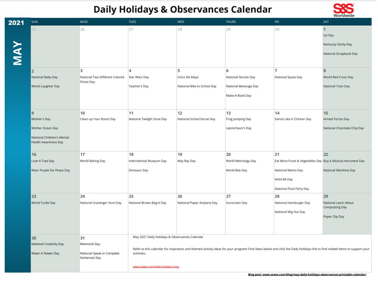 May Printable Daily Holidays Calendar 2021