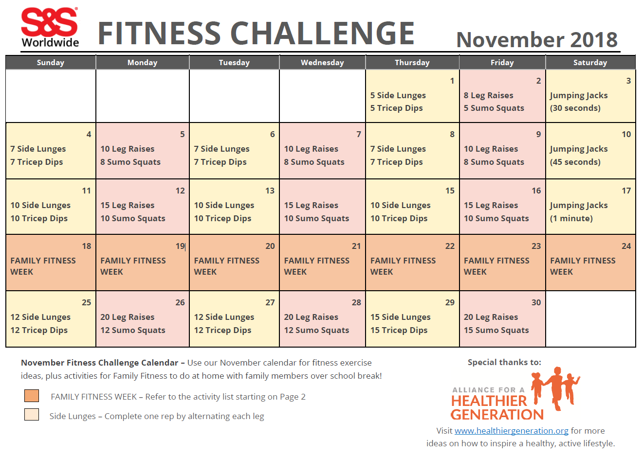 November Printable Fitness Challenge Calendar - S&S Blog