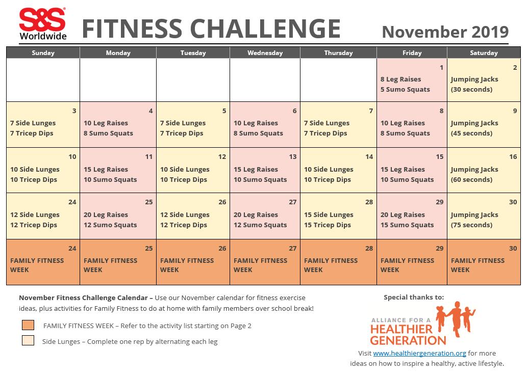 November 2019 Fitness Challenge Calendar