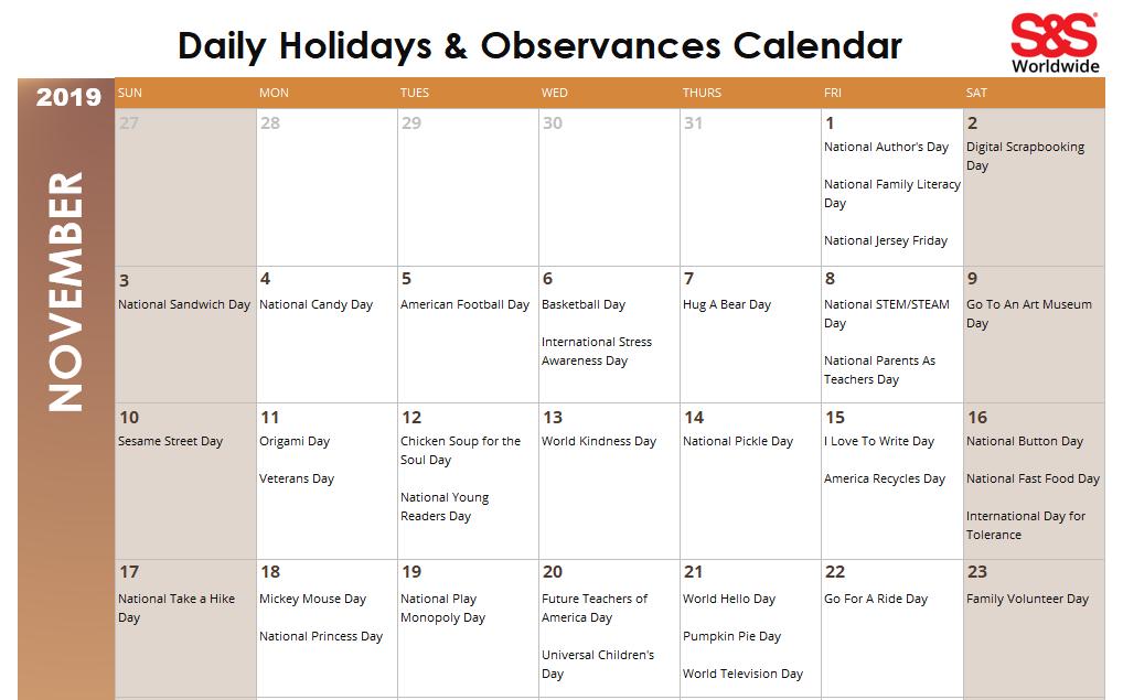 November 2019 Printable Daily Holidays Calendar FB