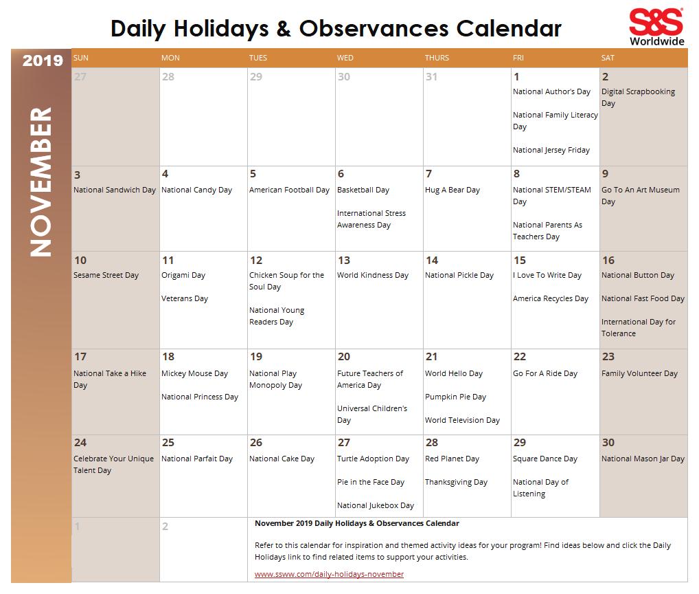 November 2019 Printable Daily Holidays Calendar