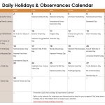 November Daily Holidays & Observances Printable Calendar