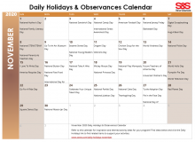 November 2020 Printable Daily Holidays Calendar