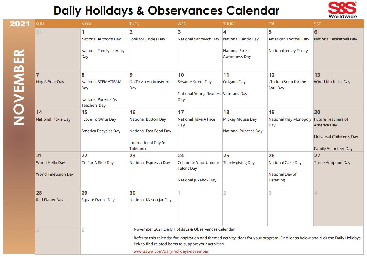 November 2021 Daily Holiday Printable Calendar