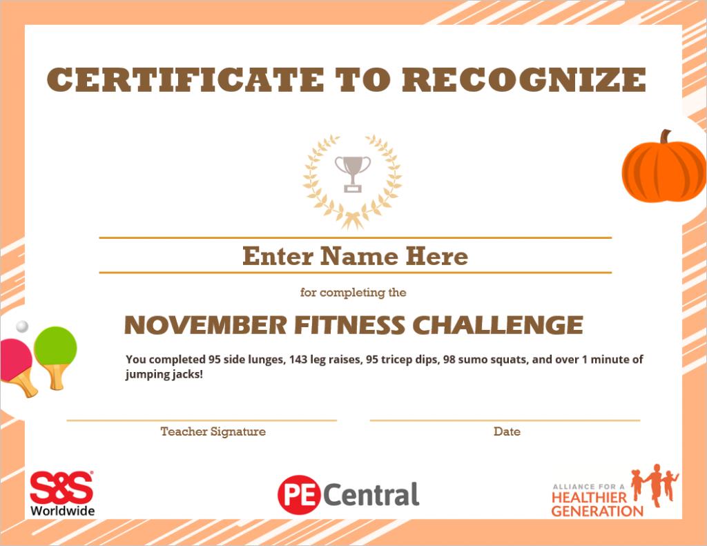 November Fitness Challenge Calendar Award