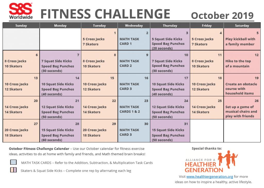 October 2019 Fitness Challenge Calendar