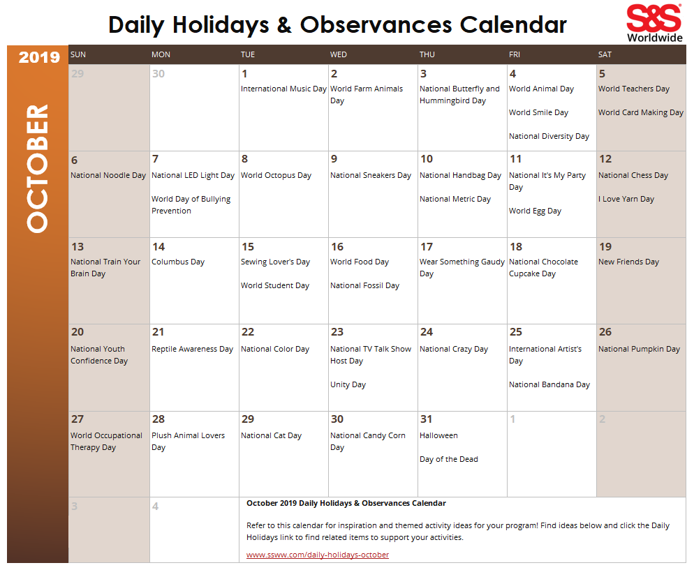 graphic regarding Printable Calendar for October named Oct Day by day Vacations Observances Printable Calendar