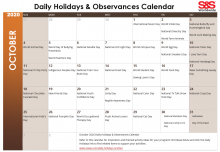 October 2020 Printable Daily Holidays Calendar