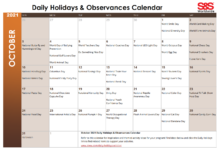 October 2021 Printable Daily Holiday Calendar