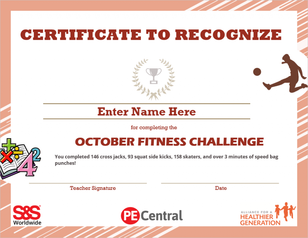 October Fitness Challenge Calendar Award