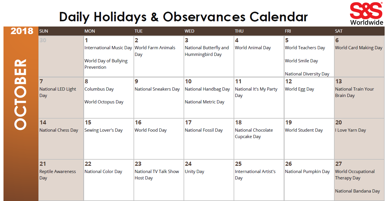 World Calendar.October Daily Holidays Observances Printable Calendar S S Blog