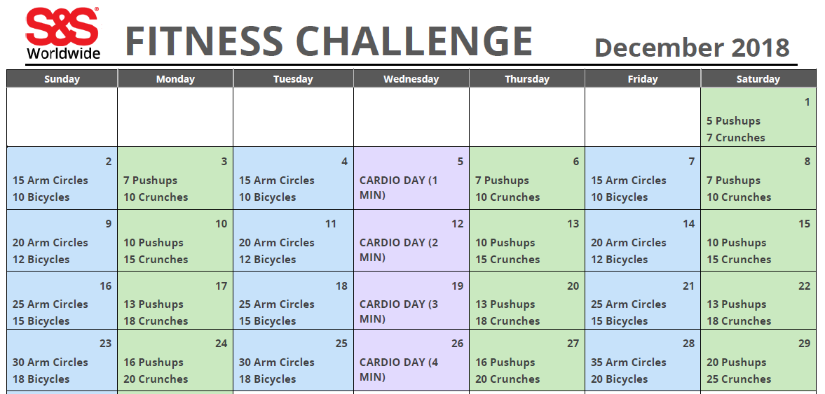 December Printable Fitness Challenge Calendar - S&S Blog