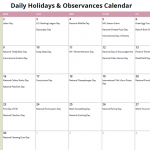 September Daily Holidays & Observances Printable Calendar