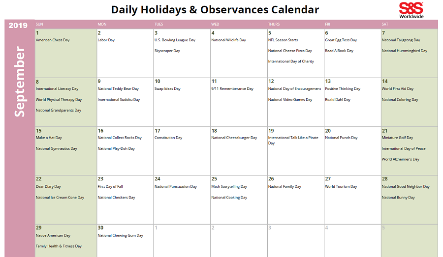 September 2019 Printable Daily Holidays Calendar 1
