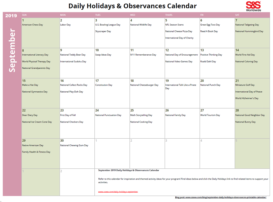 image regarding Daily Printable Calendar referred to as September Every day Vacations Observances Printable Calendar