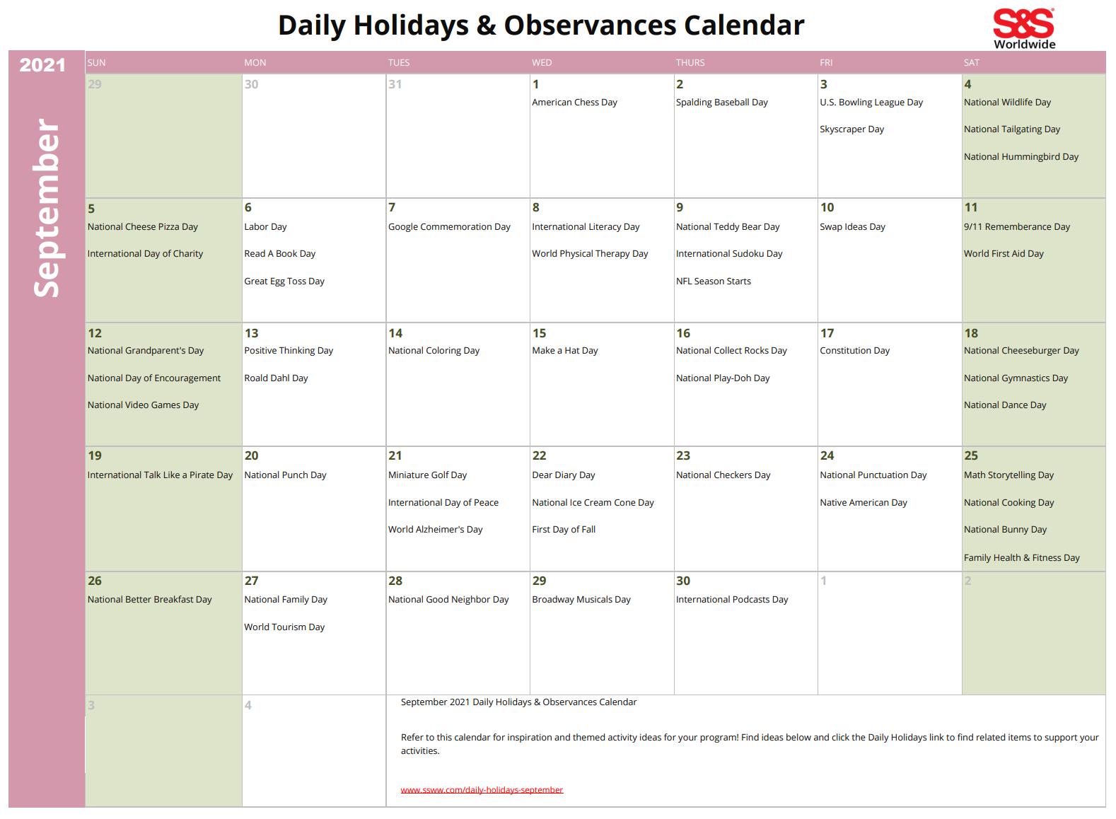 September 2021 Printable Daily Holiday Calendar