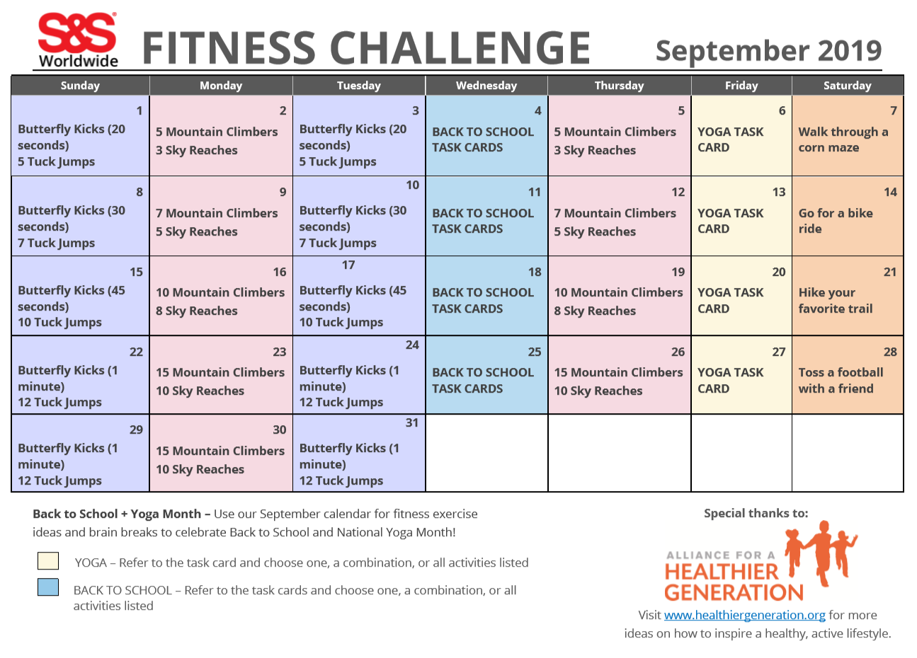 image regarding Printable Workout Cards called September Printable Physical fitness Trouble Calendar - SS Site