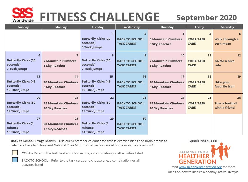 September Fitness Challenge Calendar 2020